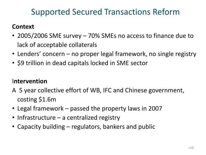 Supported Secured Transactions Reform