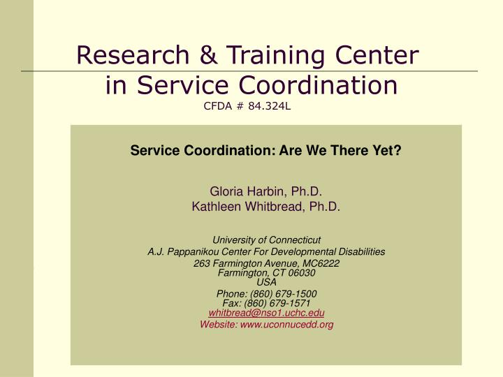 research training center in service coordination cfda 84 324l n.