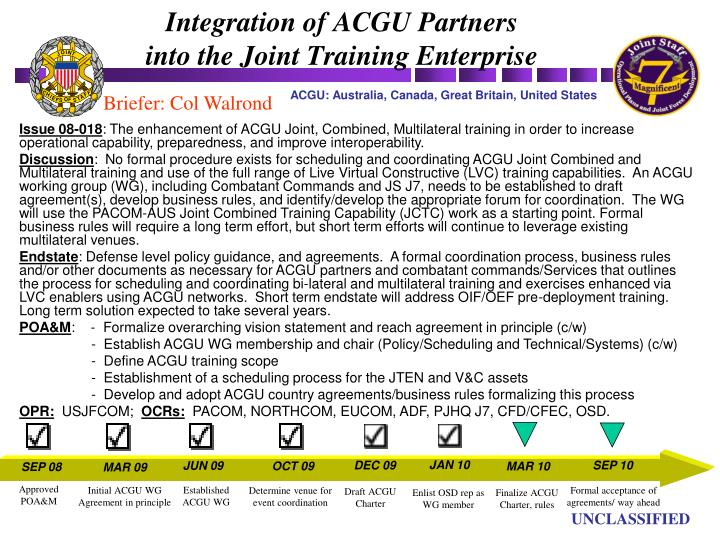 Integration of acgu partners into the joint training enterprise