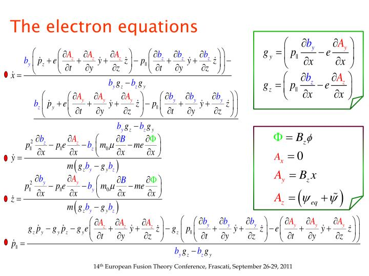 The electron equations