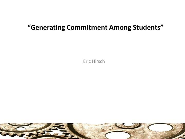 generating commitment among students n.