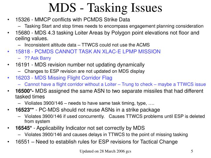 MDS - Tasking Issues