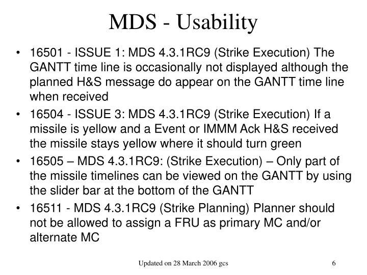 MDS - Usability
