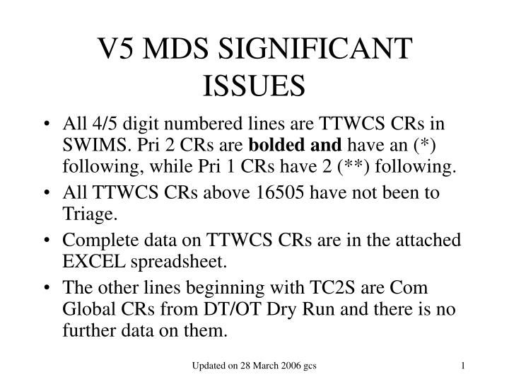 v5 mds significant issues n.