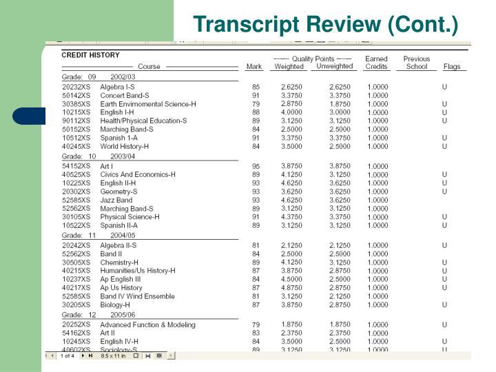 Transcript Review (Cont.)