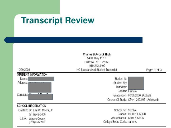 Transcript Review