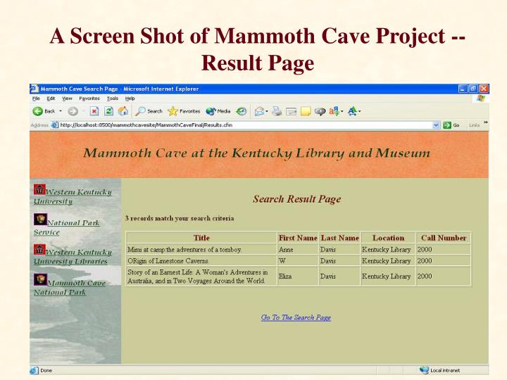 A Screen Shot of Mammoth Cave Project -- Result Page