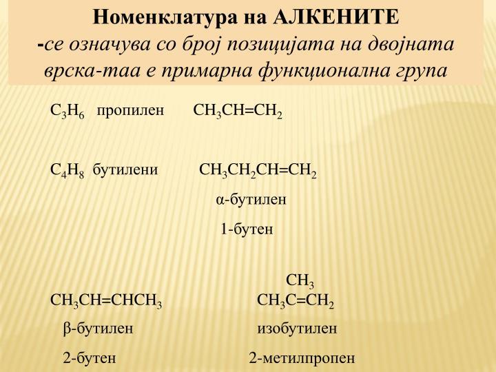 Номенклатура на АЛКЕНИТЕ