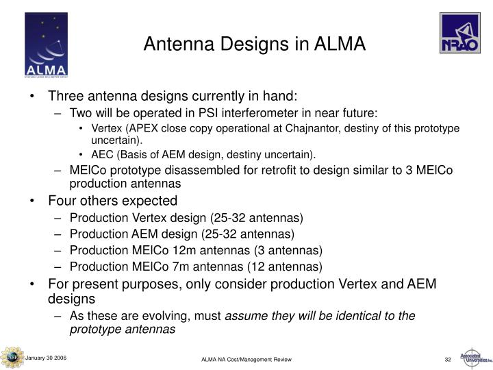 Antenna Designs in ALMA