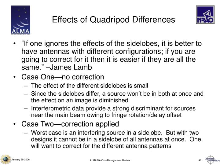Effects of Quadripod Differences