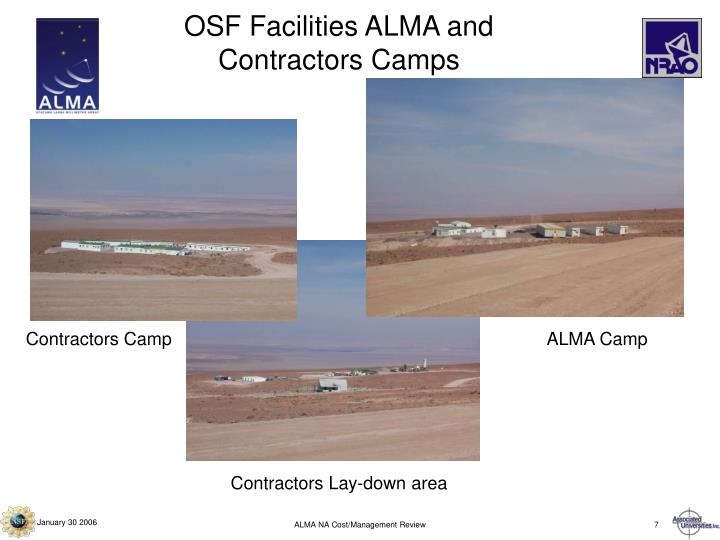 OSF Facilities ALMA and Contractors Camps