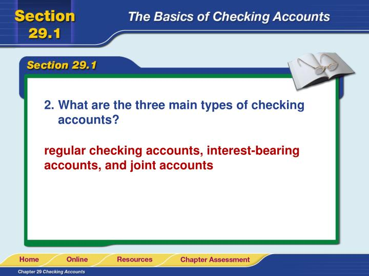 What are the three main types of checking accounts?