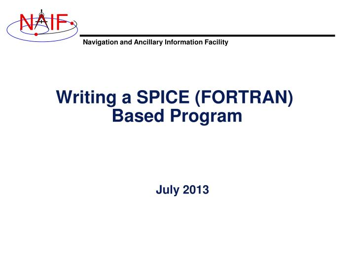PPT - Writing a SPICE (FORTRAN) Based Program PowerPoint