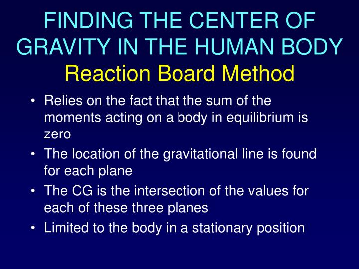 FINDING THE CENTER OF GRAVITY IN THE HUMAN BODY