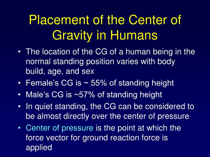 Placement of the Center of Gravity in Humans
