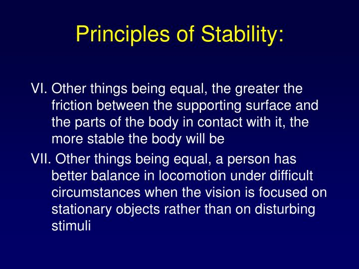 Principles of Stability:
