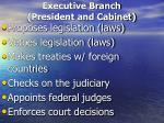 executive branch president and cabinet