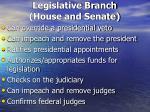 legislative branch house and senate