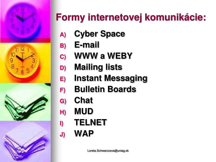 Formy internetovej komunikácie: