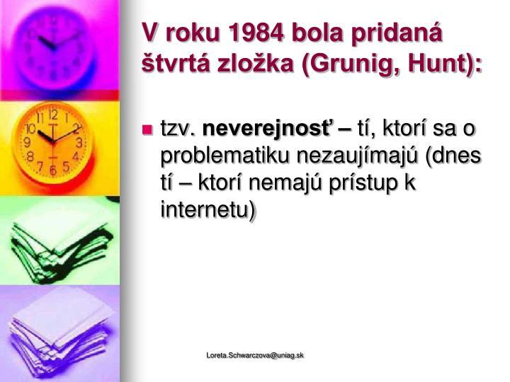 V roku 1984 bola pridaná štvrtá zložka (Grunig, Hunt):