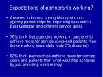 expectations of partnership working