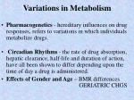 variations in metabolism