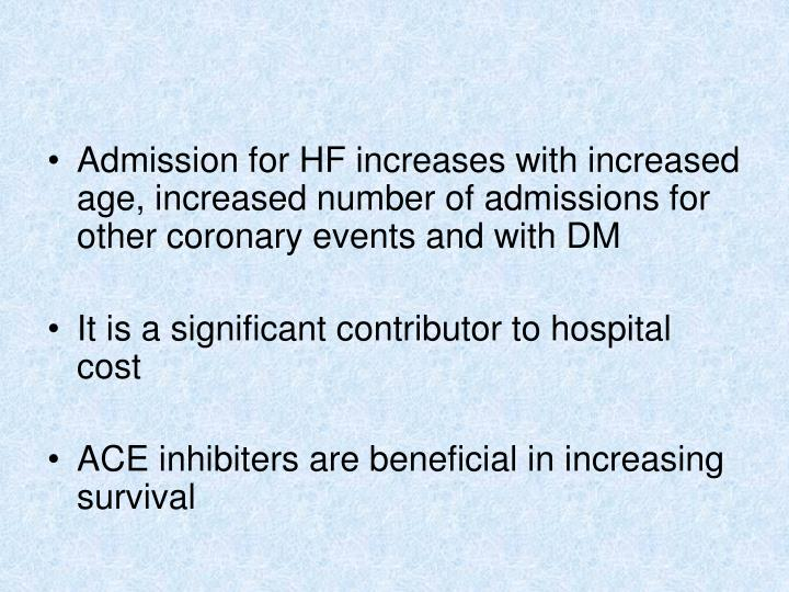 Admission for HF increases with increased age, increased number of admissions for other coronary events and with DM
