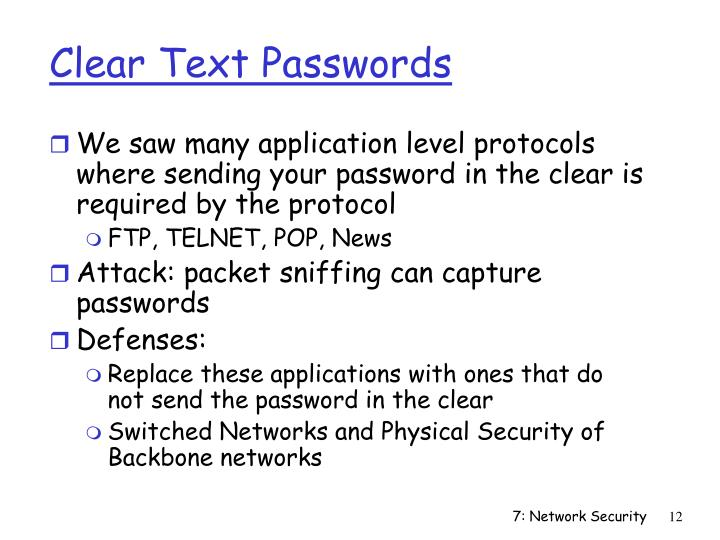 Clear Text Passwords