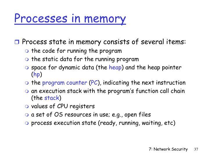 Processes in memory