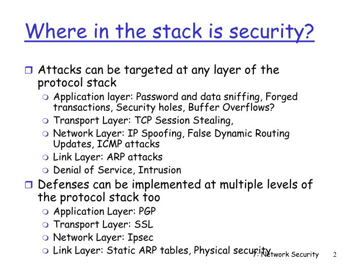 Where in the stack is security