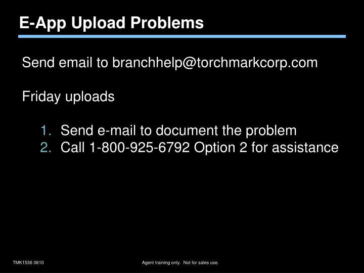 E-App Upload Problems