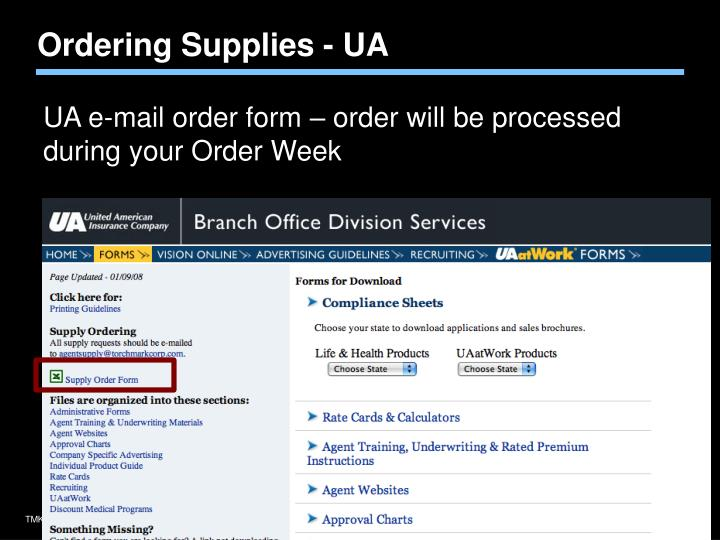 Ordering Supplies - UA