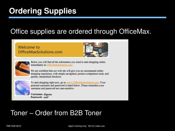 Ordering Supplies