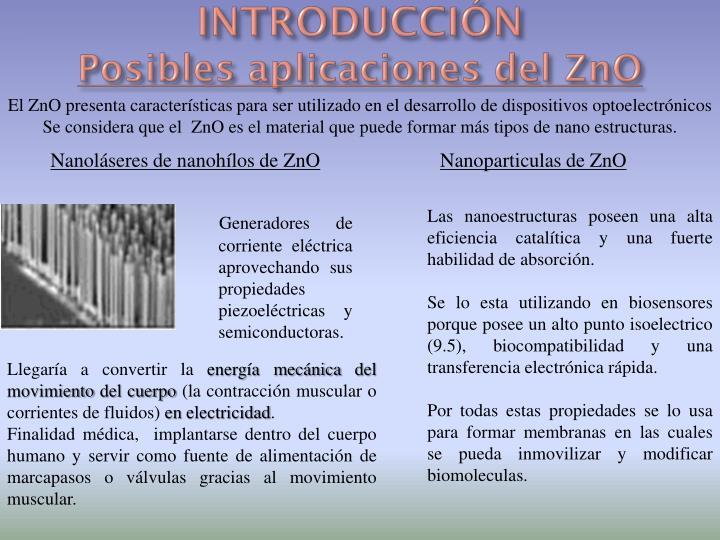 Introducci n posibles aplicaciones del zno