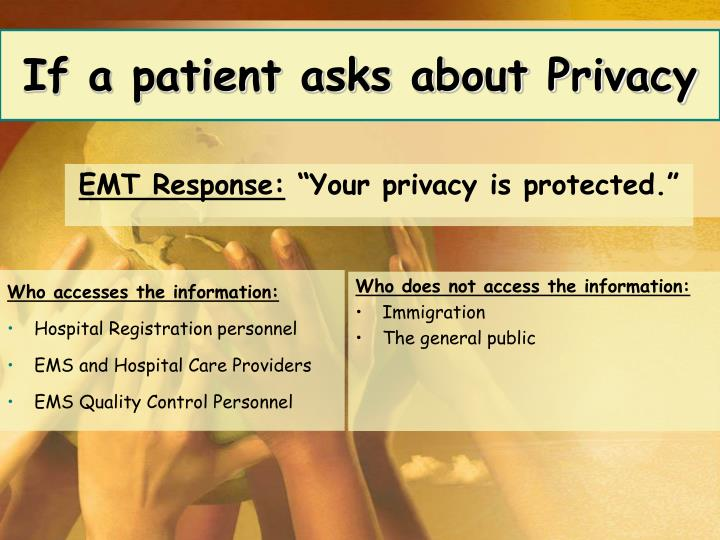 If a patient asks about Privacy