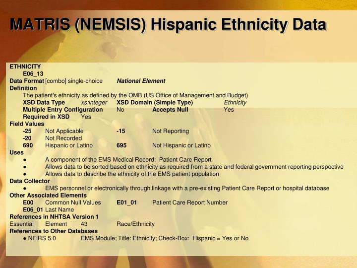 MATRIS (NEMSIS) Hispanic Ethnicity Data