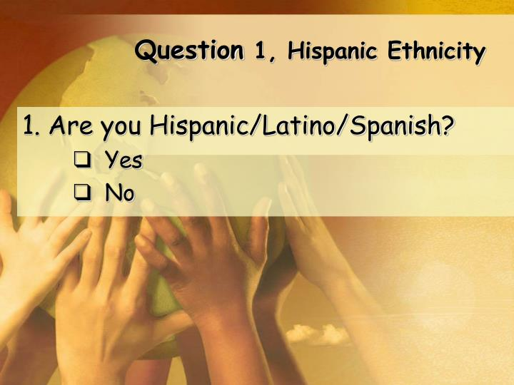 Question 1 hispanic ethnicity