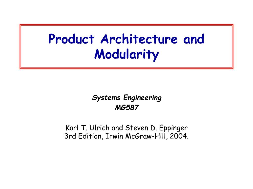 Ppt Product Architecture And Modularity Powerpoint Presentation Free Download Id 3983098