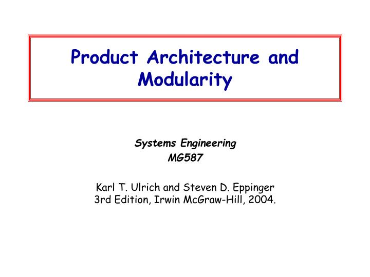 product architecture and modularity n.