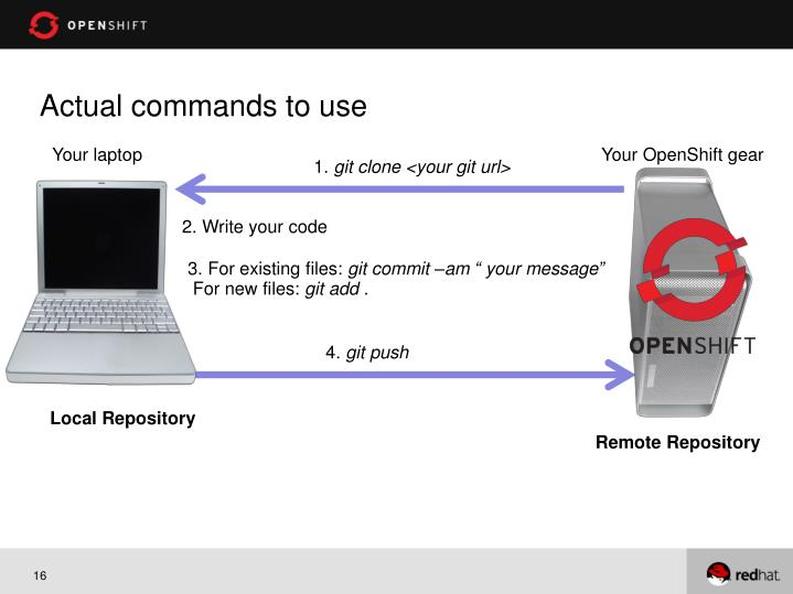 Actual commands to use