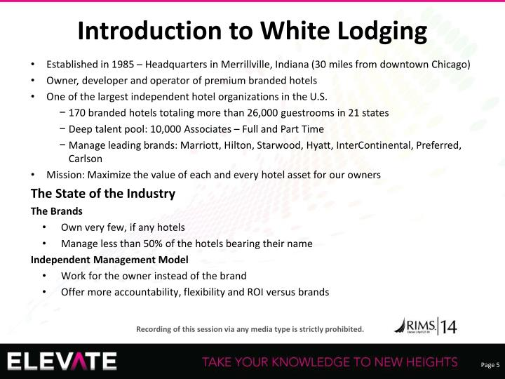 Introduction to White Lodging
