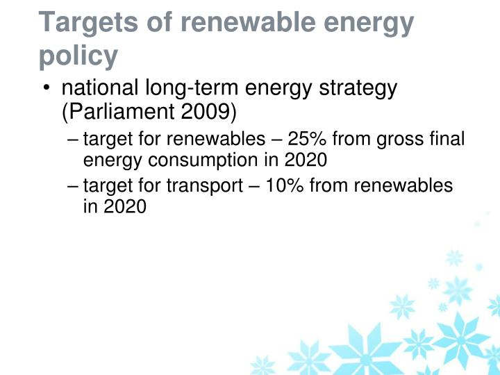 Targets of renewable energy policy