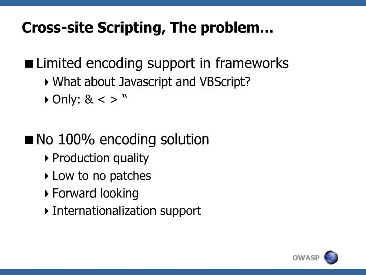 Cross-site Scripting, The problem…