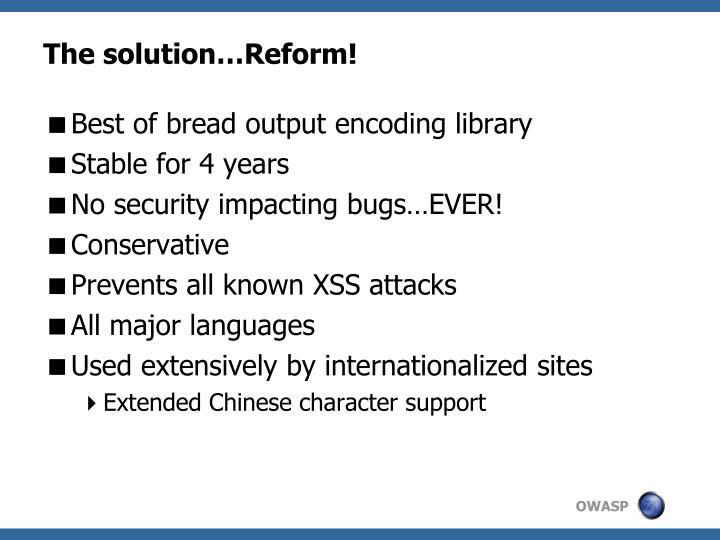 The solution…Reform!