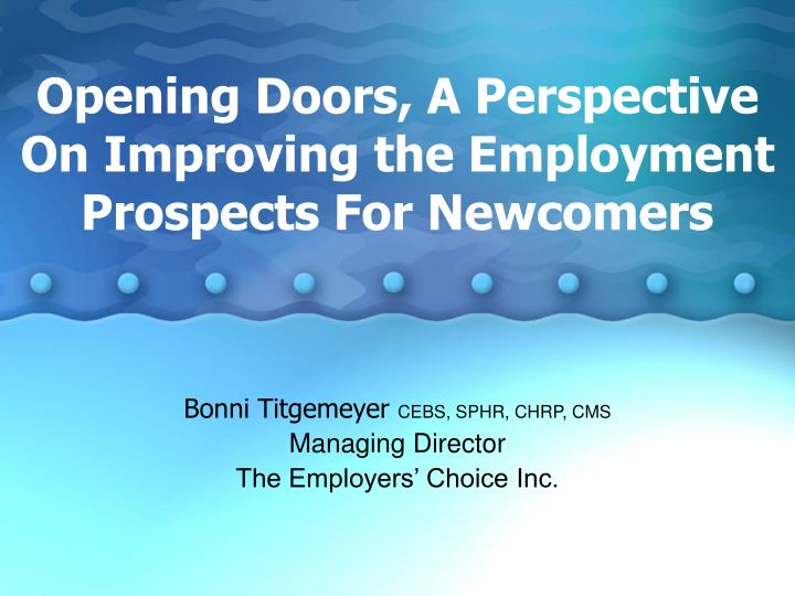 Opening doors a perspective on improving the employment prospects for newcomers