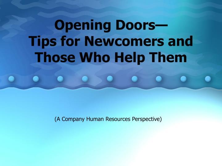 Opening Doors—