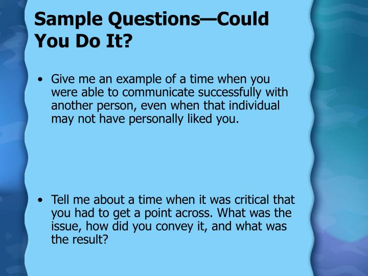 Sample Questions—Could You Do It?
