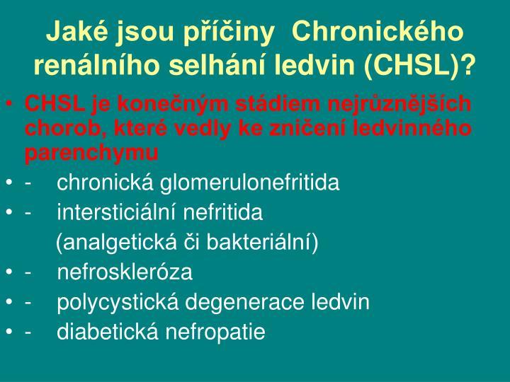 Jaké jsou příčiny  Chronického  renálního selhání ledvin (CHSL)?