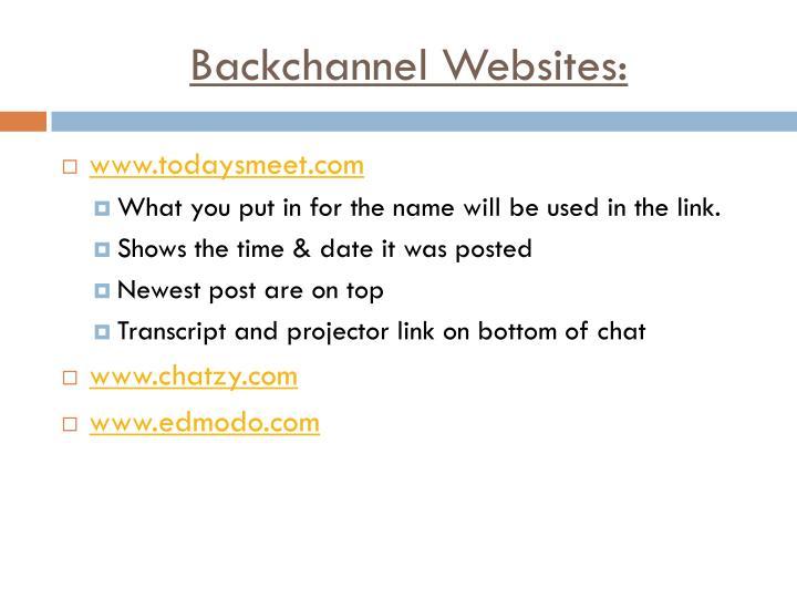 Backchannel Websites: