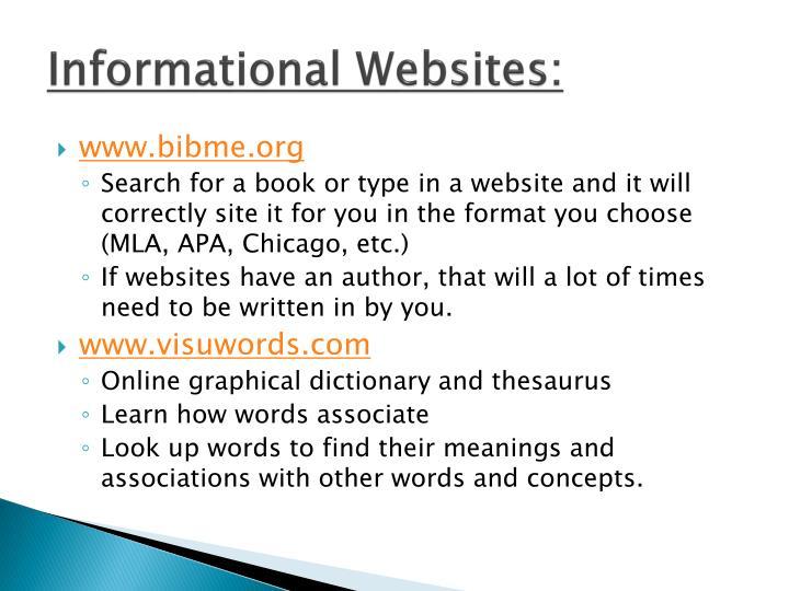 Informational Websites: